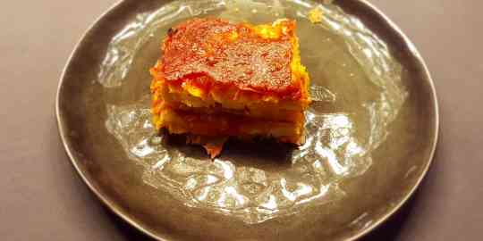 Lasagne met butternutpompoen en pastinaakpuree